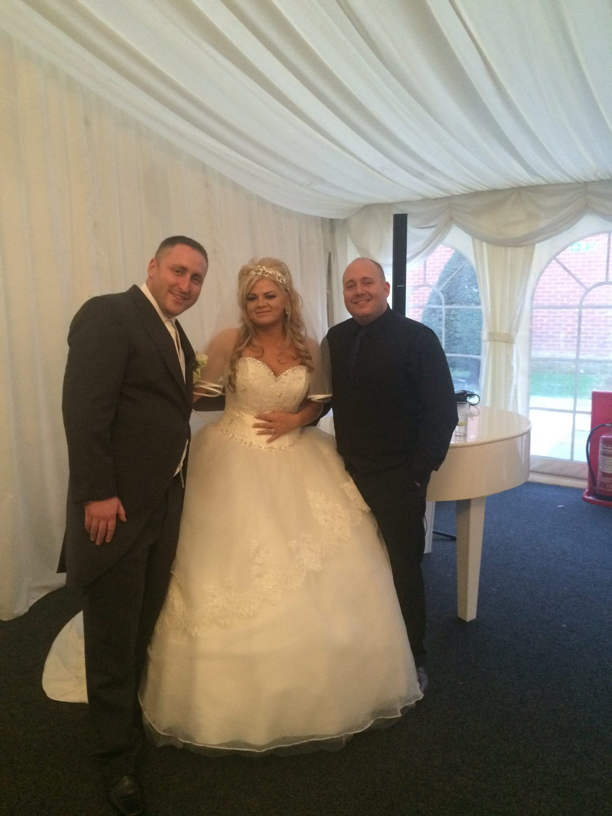 Mr and Mrs Manning with Mark the Piano guy for their wedding at Mercure Haydock Hotel