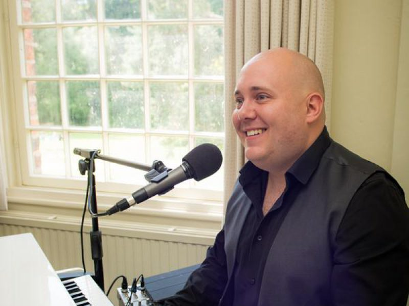 Mark The Piano Guy performing at Quarry Bank Mill for a wedding ceremony