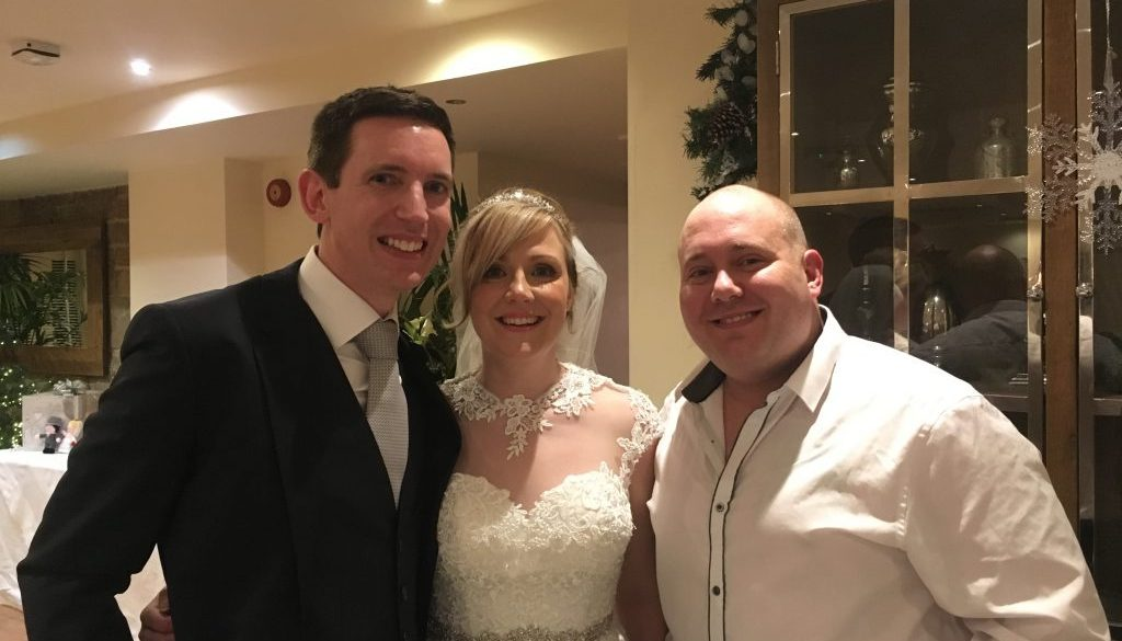 Mr and Mrs Howard and Mark the Piano Guy at Mitton Hall